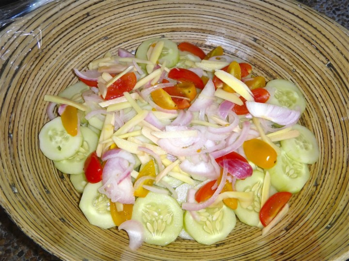 Filipino cucumber, tomato, onion, ginger and vinegar salad