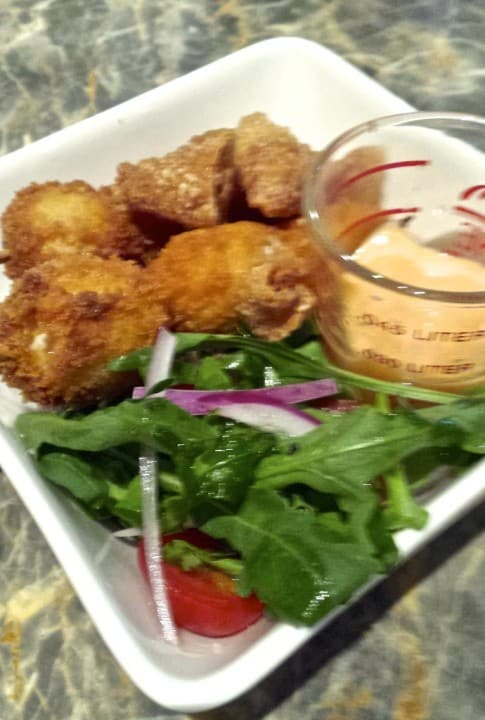 Beautiful little crunchy nuggets with aioli dip - nice