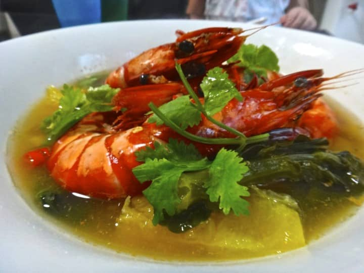 Thai style orange juice prawns