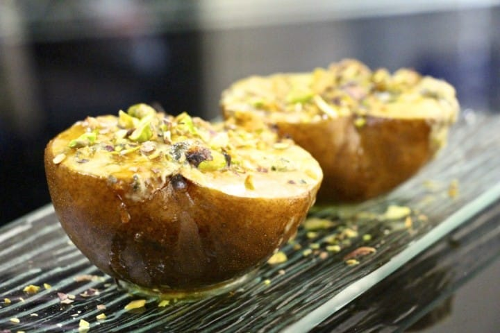 Stinky blue cheese pears