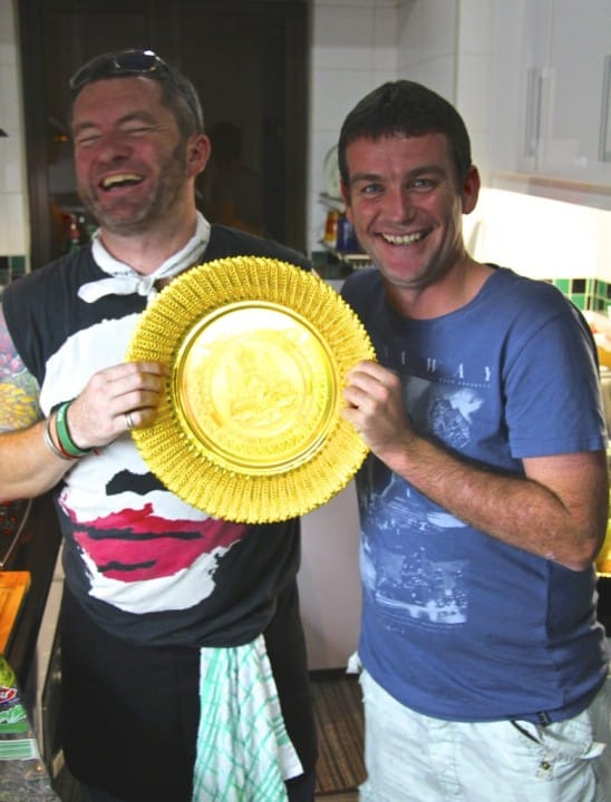 "Reevey and I with one of my newly acquired serving platters for the event. Reevey thought it looked like the Wimbledon trophy - hey presto! ""I accept this award on behalf of the team... blah blah blah"""