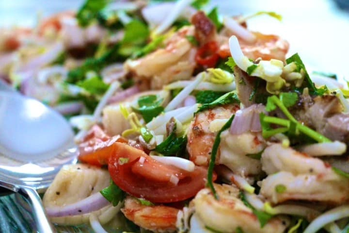 Thai salad of prawns, scallops and roast pork with Yuzu dressing