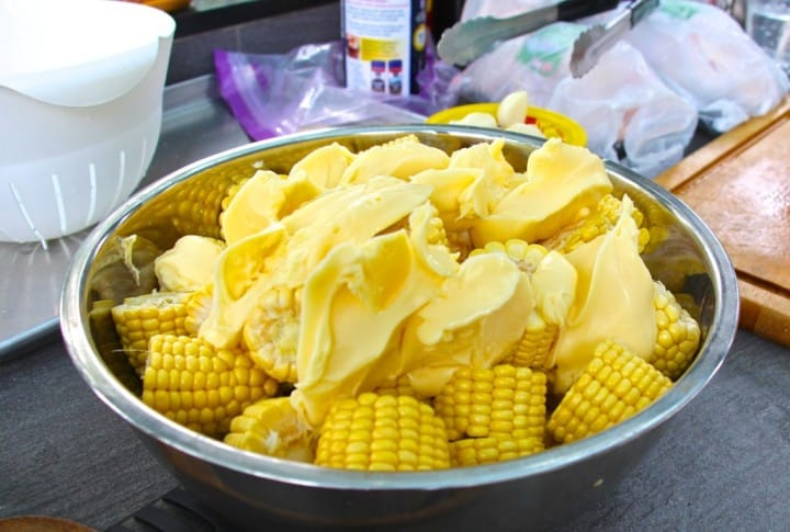 Sweetcorn. Easy peasy. Tub of margarine, salt and pepper. Bash on the grill and BBQ unit browned. Simply delicious.