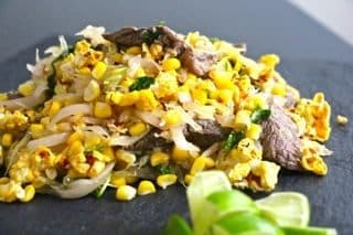 Asian beef and popcorn