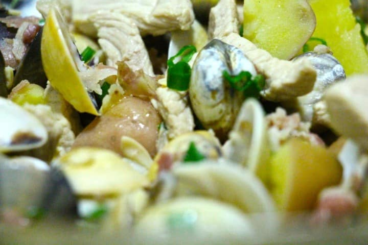 Clam, chicken, bacon and potato stew