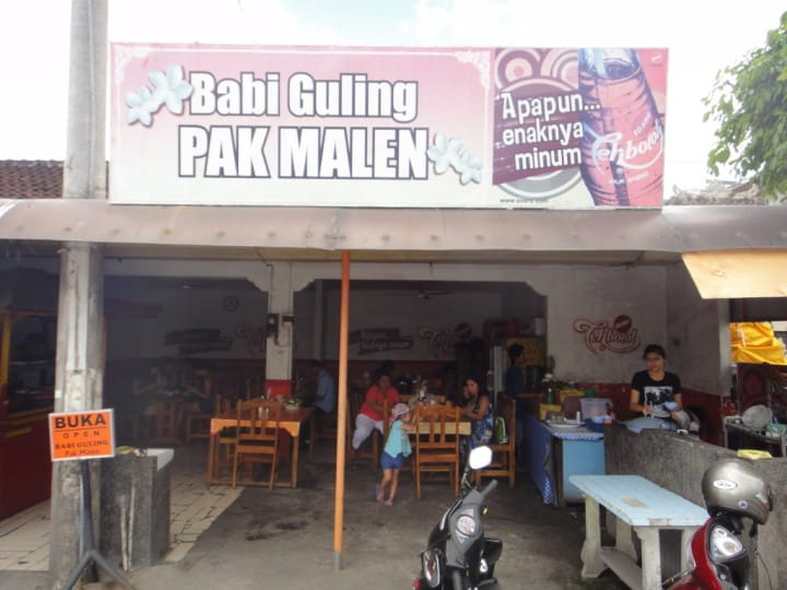 Here is the road side shack, Pak Malen's - purveyors of Babi Guling and Babi Guling only - oh yeah and beer ha ha