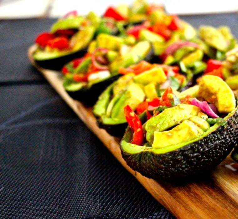 You've seen this recipe before, but this time I did 5 avocados, delivering 10 little personal salsa salads. These all went very quickly - good feed back again on these puppies. De-constructed and Re-constructed Avocado Salsa Salad