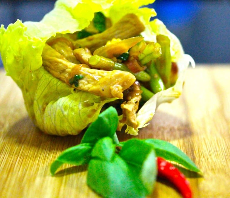 Thai style pork strips in lettuce cups