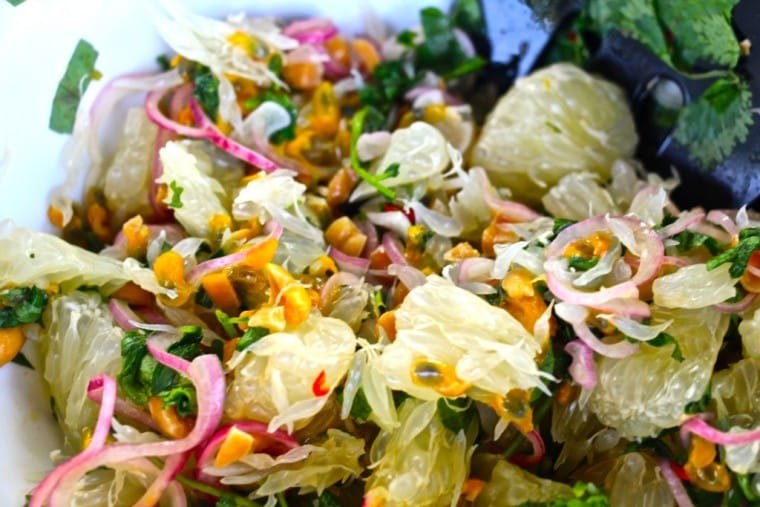 Thai pomelo and passion fruit salad