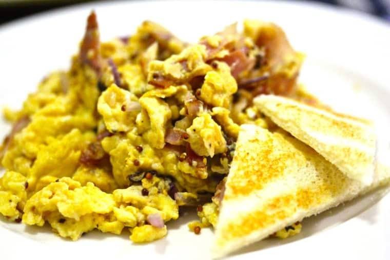 Parma ham scrambled eggs with wholegrain mustard