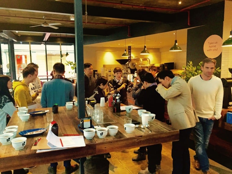 Here are the rest if the team, slurping away and guessing the tastes at Market Lane Coffee, Melbourne