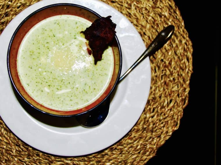 Water Cress and Edamame Cream Soup With Crispy Bacon