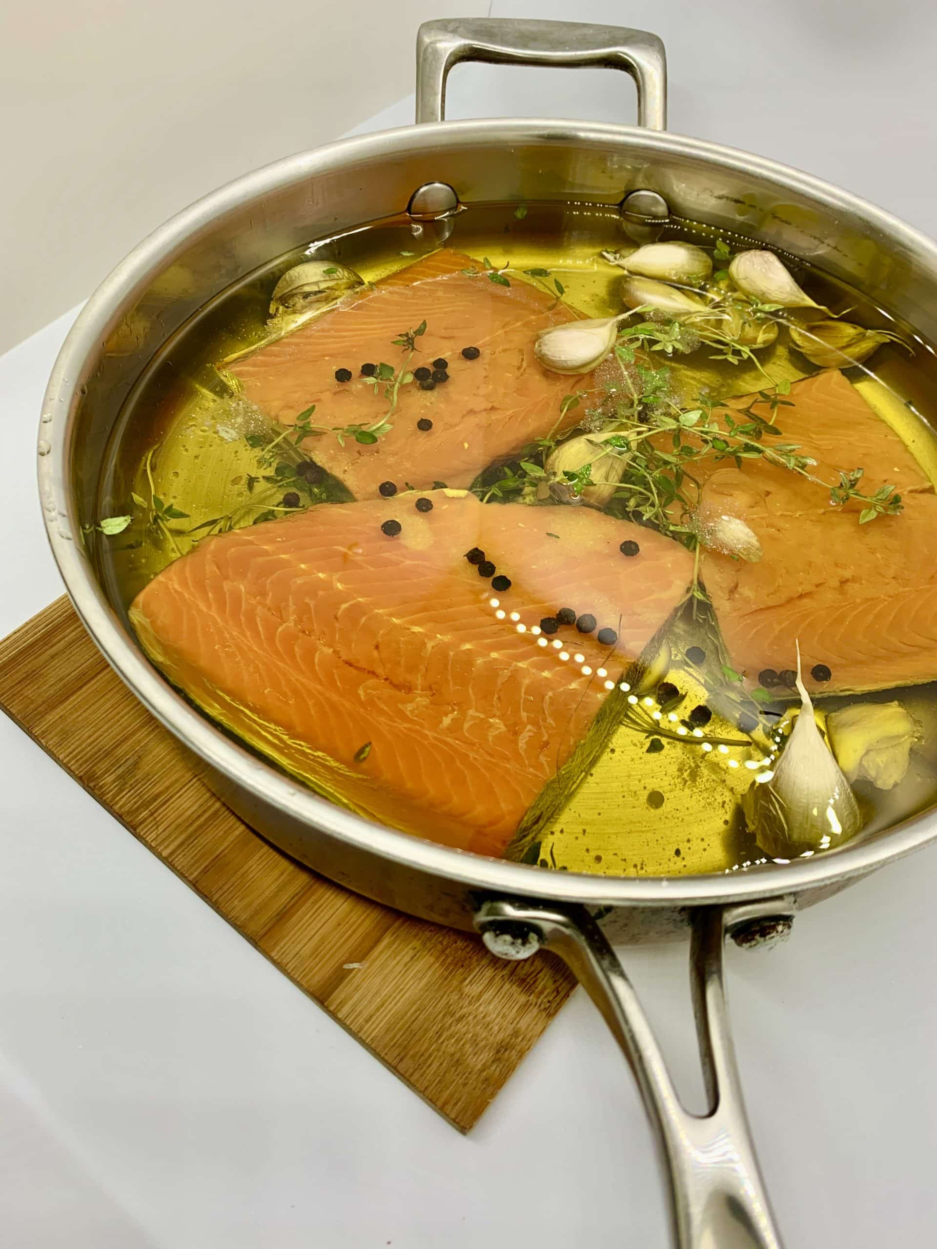 ChillaxBBQ Stay@Home Recipes #36 - Olive Oil Poached Wild Sockeye Salmon 'w' Citrus Butter Spinach