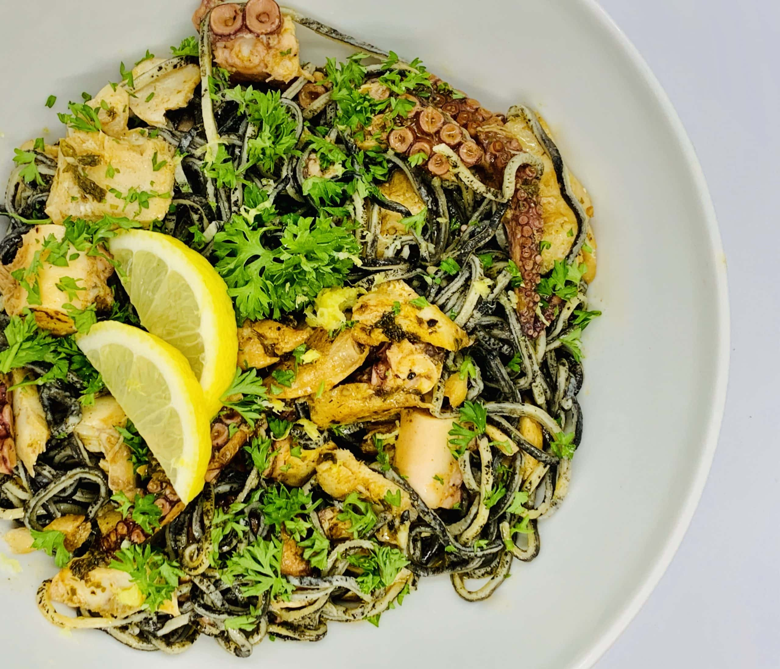 ChillaxBBQ Stay@Home Recipes #39 - Home-Made Squid-Ink Pasta 'w' Alaskan Rock Fish & Octopus