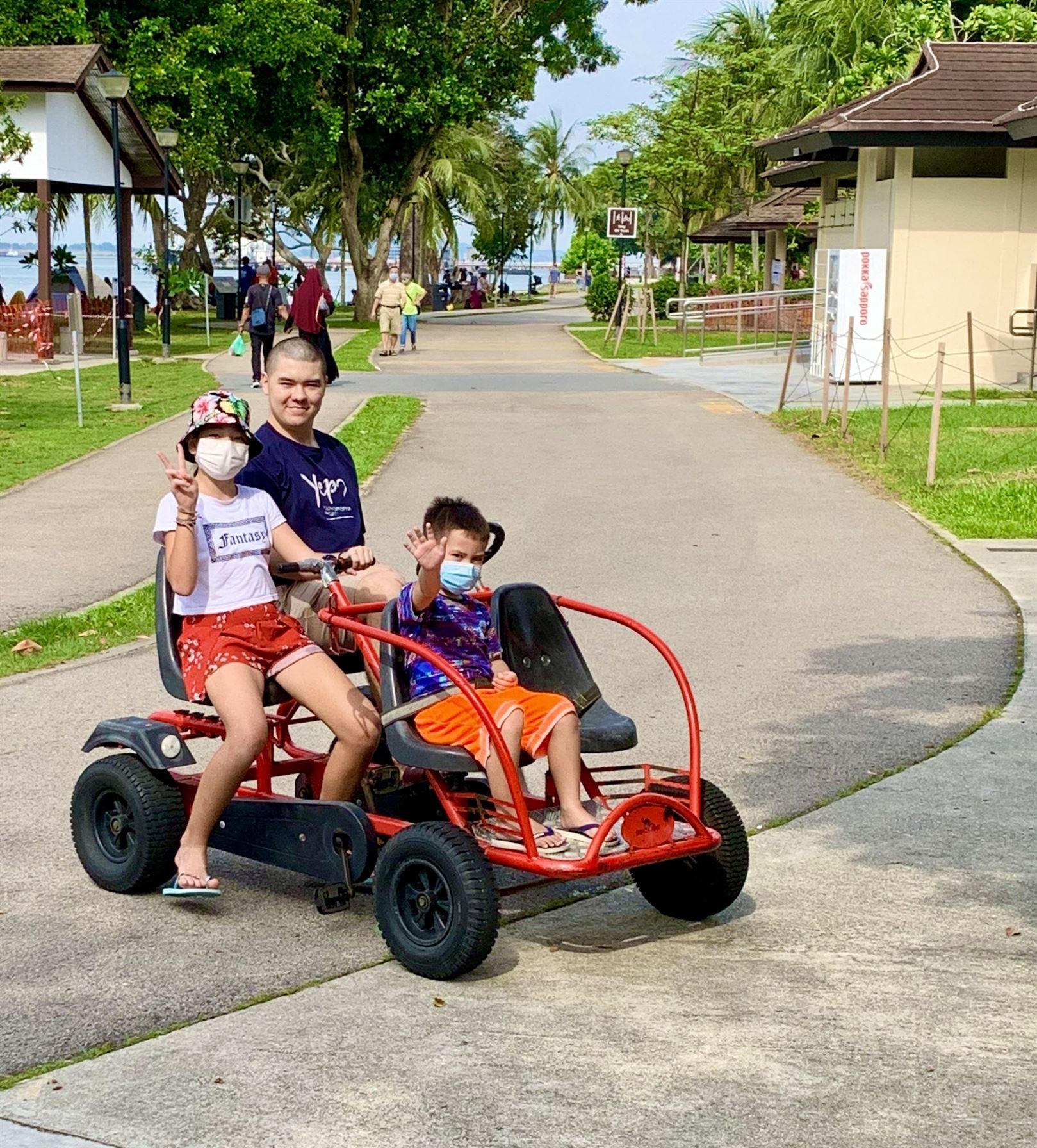 The SeaGrill @ Changi & family fun on beach & go-karts...