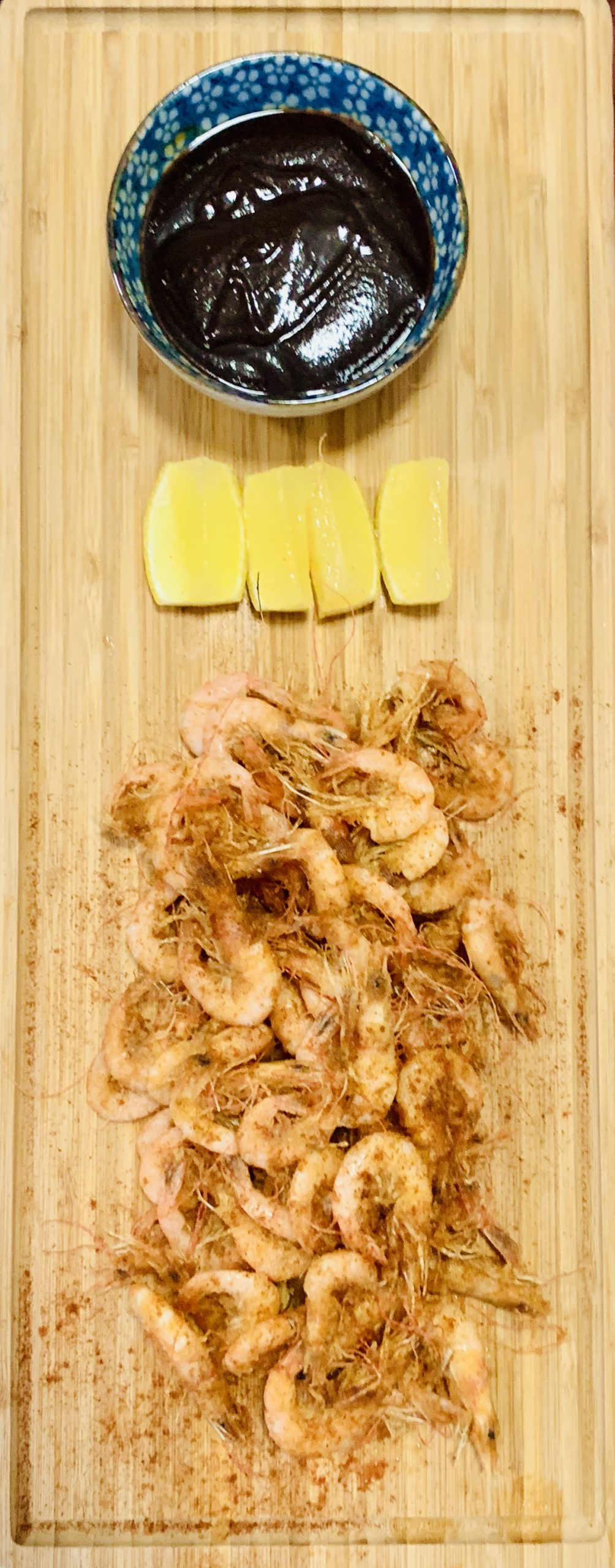 Shallow-fried School Prawns 'w' Lemon & HoiSin
